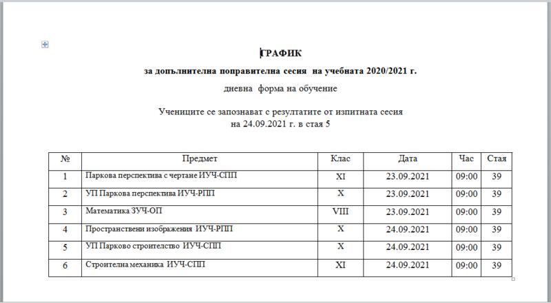 ГРАФИК за допълнителна поправителна сесия  на учебната 2020/2021 г.